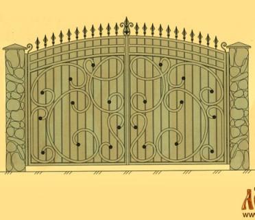 Эскиз кованых ворот 5026