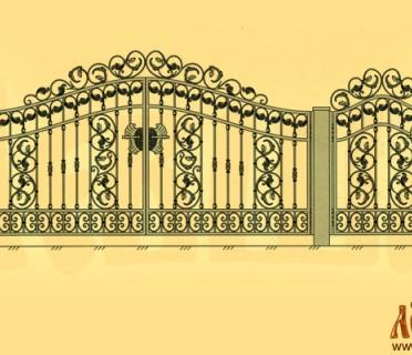 Эскиз кованых ворот 5030
